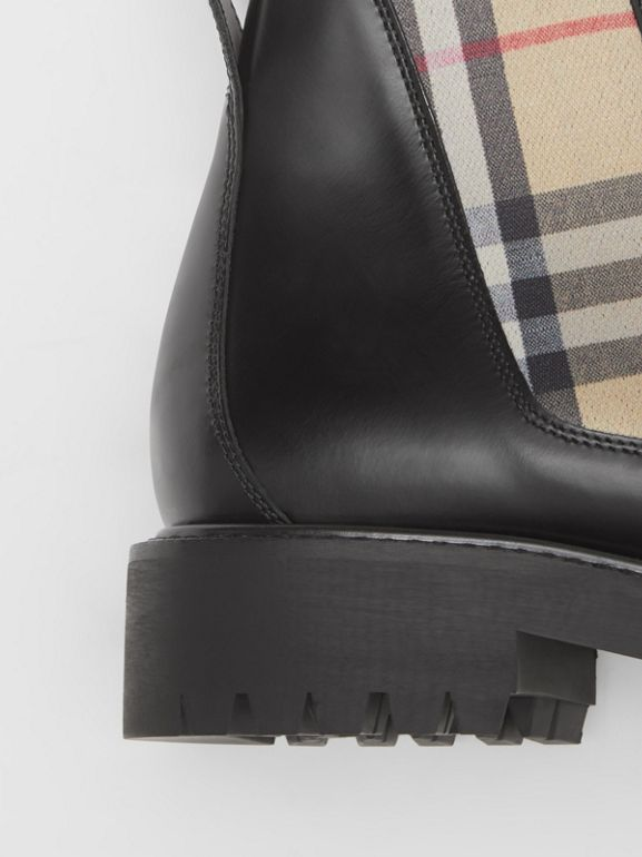 Vintage Check Detail Leather Chelsea Boots in Black - Women | Burberry Canada - cell image 1