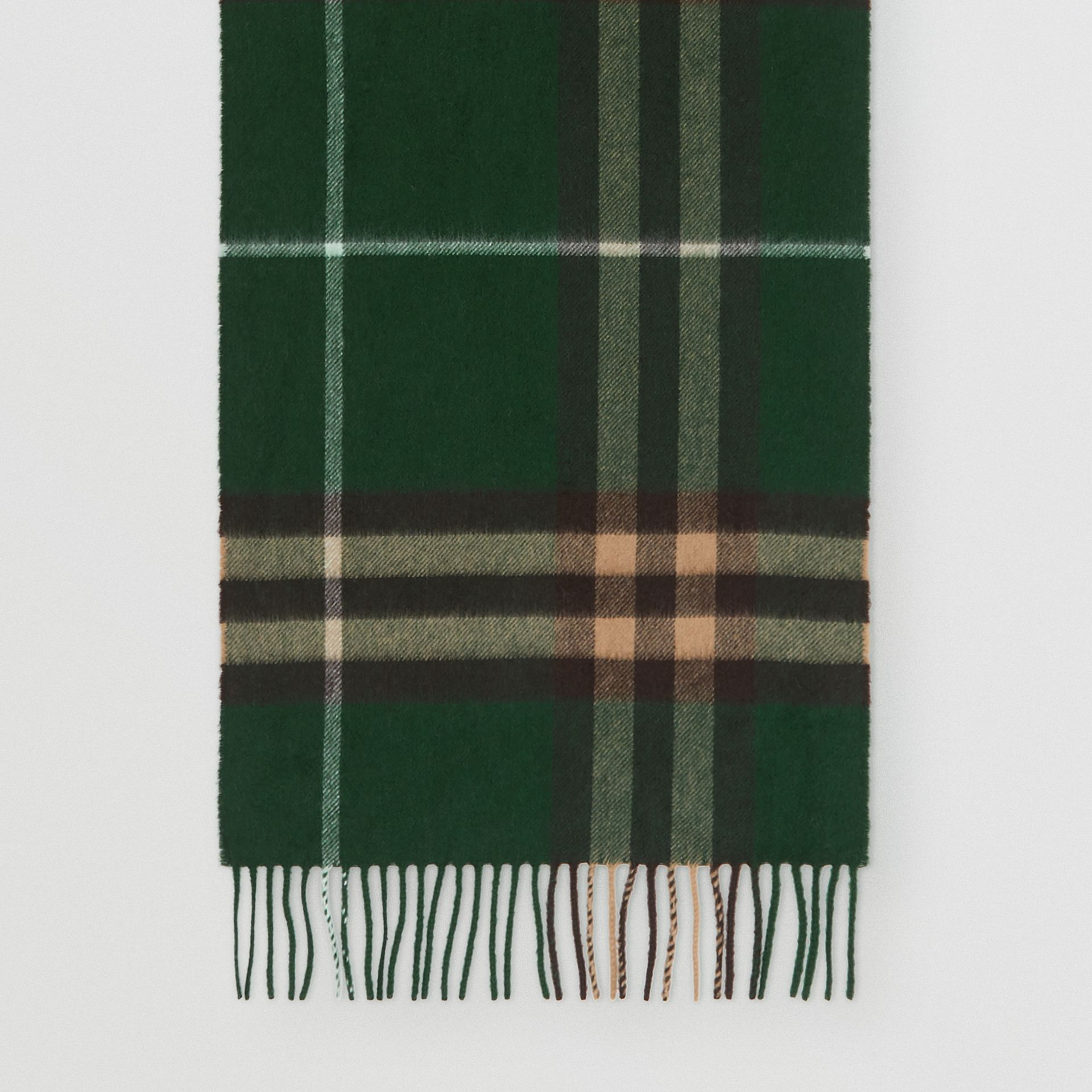 The Classic Check Cashmere Scarf in Dark Pine Green | Burberry - gallery image 4