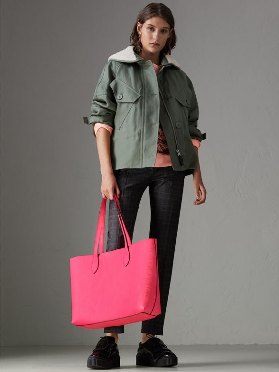 Embossed Leather Tote in Neon Pink | Burberry Singapore - cell image 2