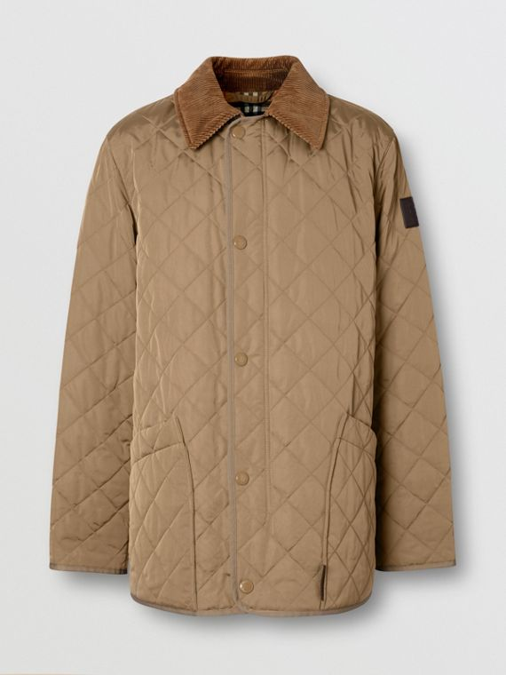 Diamond Quilted Thermoregulated Barn Jacket in Pale Granite
