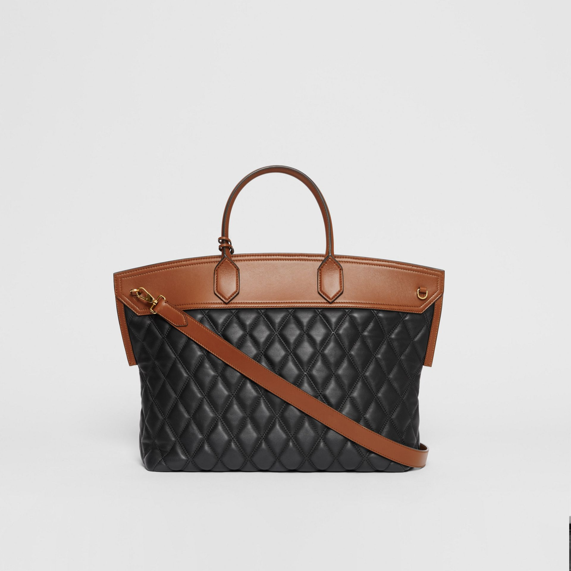 Quilted Lambskin Society Top Handle Bag in Black/brown - Women | Burberry United Kingdom - gallery image 6