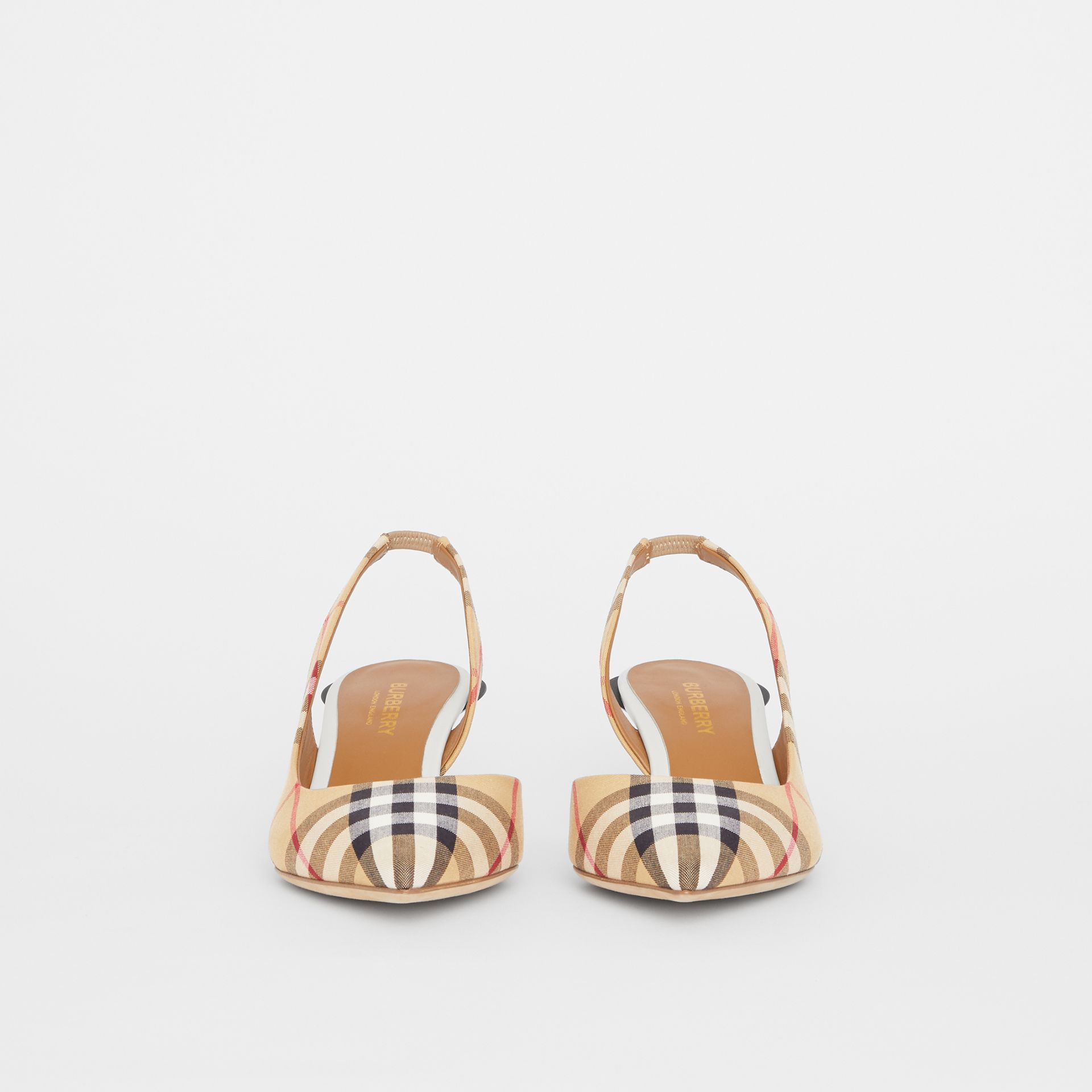 Vintage Check Slingback Pumps in Archive Beige - Women | Burberry Canada - gallery image 3