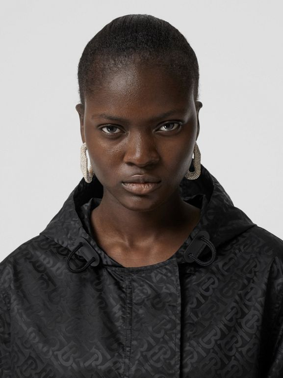 Monogram ECONYL® Jacquard Hooded Parka in Black - Women | Burberry - cell image 1