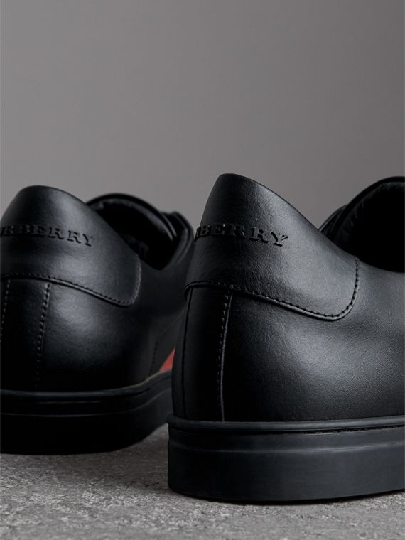 Logo Print Leather Sneakers in Black/bright Red - Men | Burberry United Kingdom - cell image 3