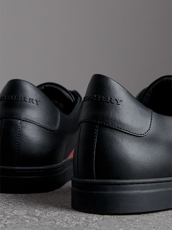 Logo Print Leather Sneakers in Black/bright Red - Men | Burberry Australia - cell image 3