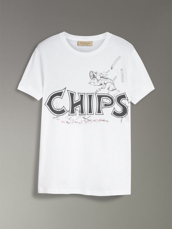 Fish and Chips Print Cotton T-shirt in White - Men | Burberry - cell image 3