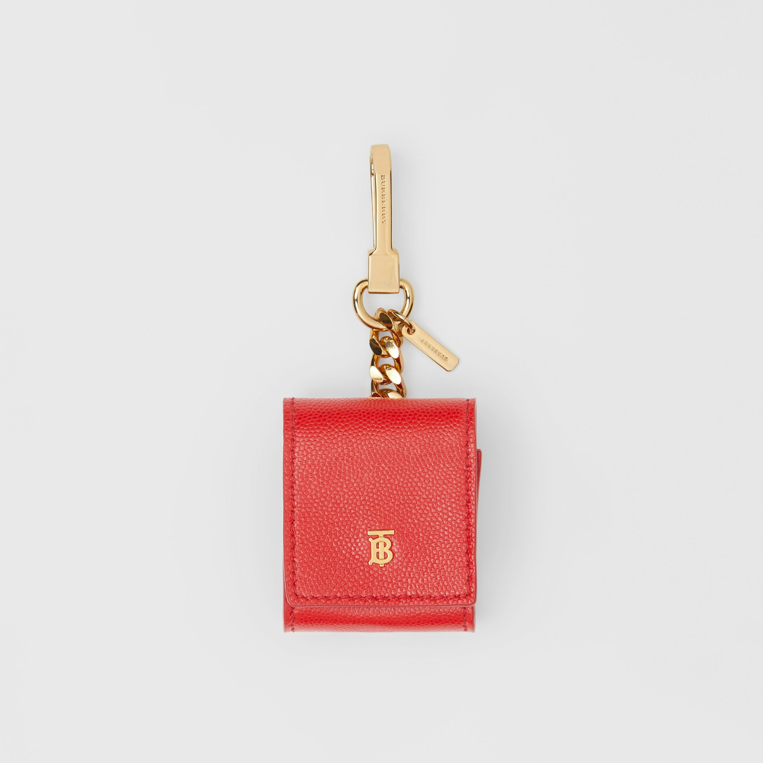 Grainy Leather AirPods Case in Bright Red | Burberry Australia - 1