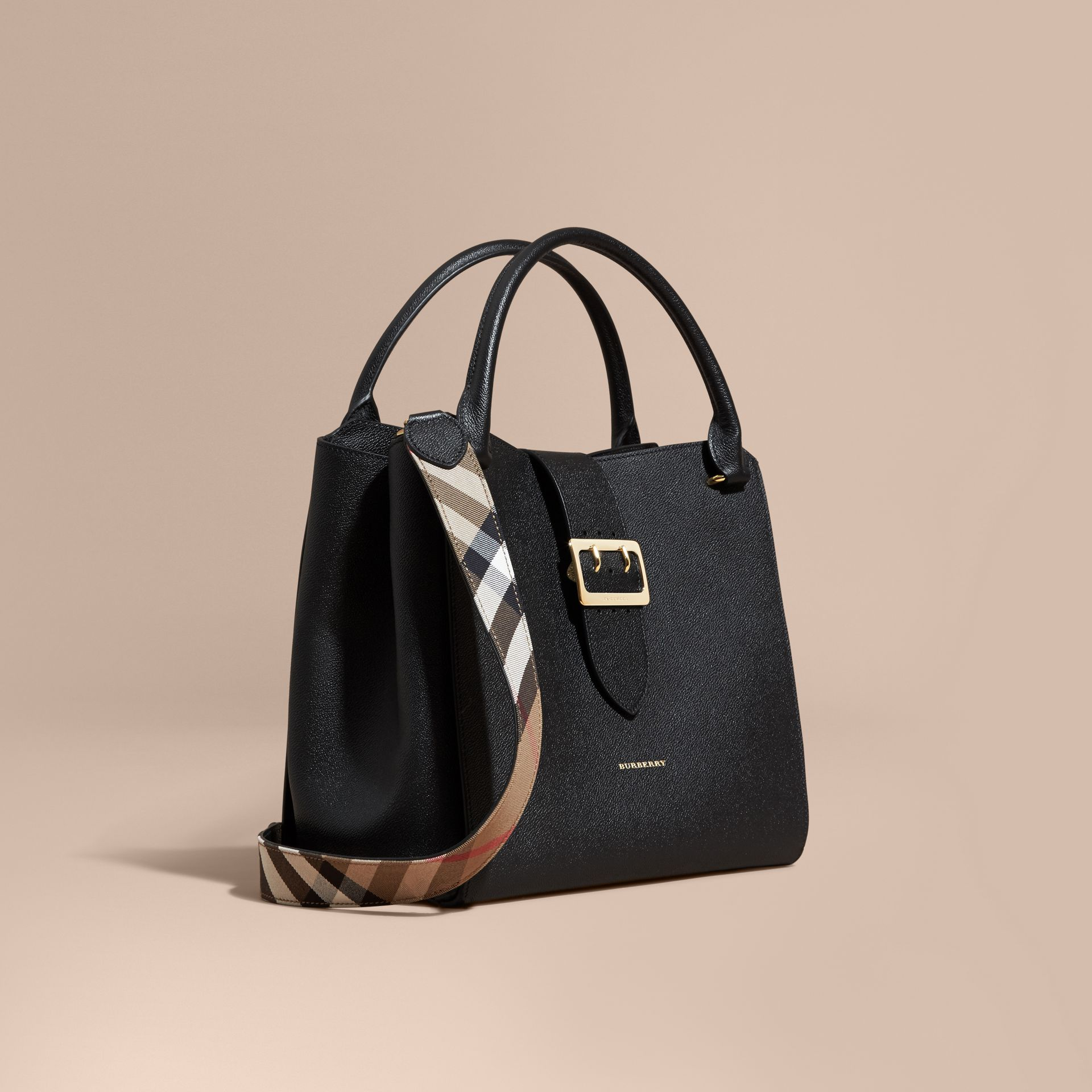 The Large Buckle Tote in Grainy Leather in Black - gallery image 1