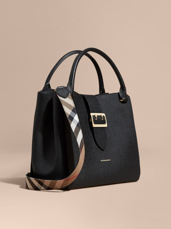 The Large Buckle Tote in Grainy Leather Black