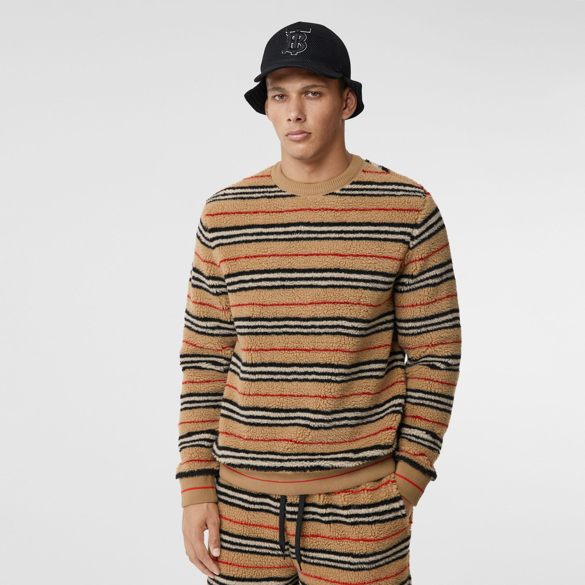 Icon Stripe Fleece Sweatshirt in Archive Beige - Men | Burberry - gallery image 4