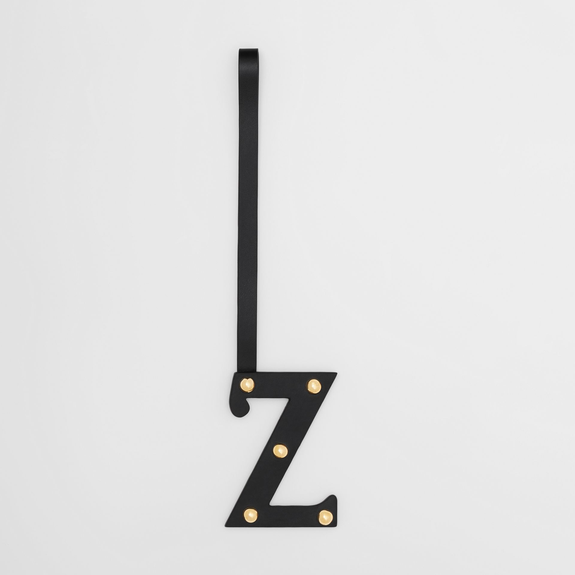 'Z' Studded Leather Alphabet Charm in Black/light Gold - Women | Burberry - gallery image 0