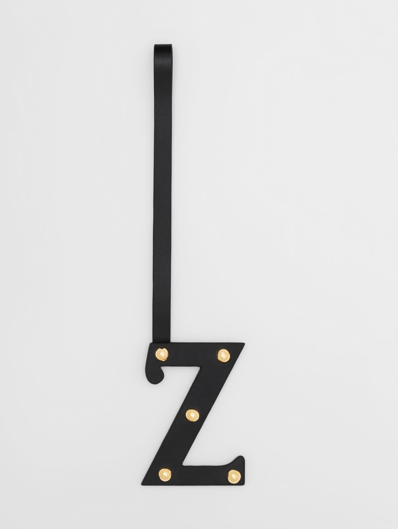 'Z' Studded Leather Alphabet Charm in Black/light Gold
