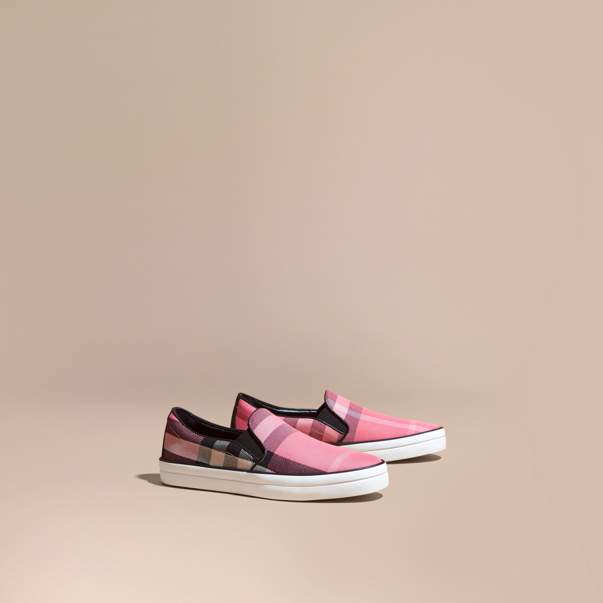 Overdyed House Check Cotton Slip-on Trainers Rose Pink - gallery image 1