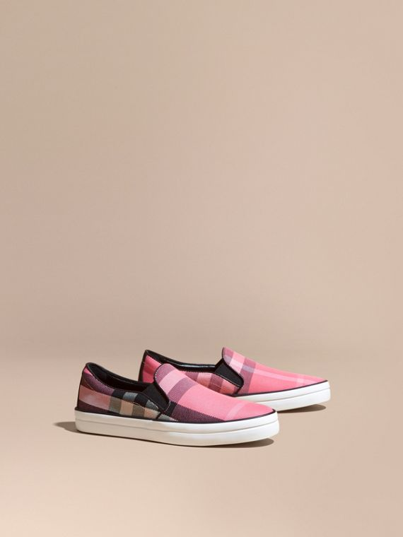 Overdyed House Check Cotton Slip-on Trainers Rose Pink