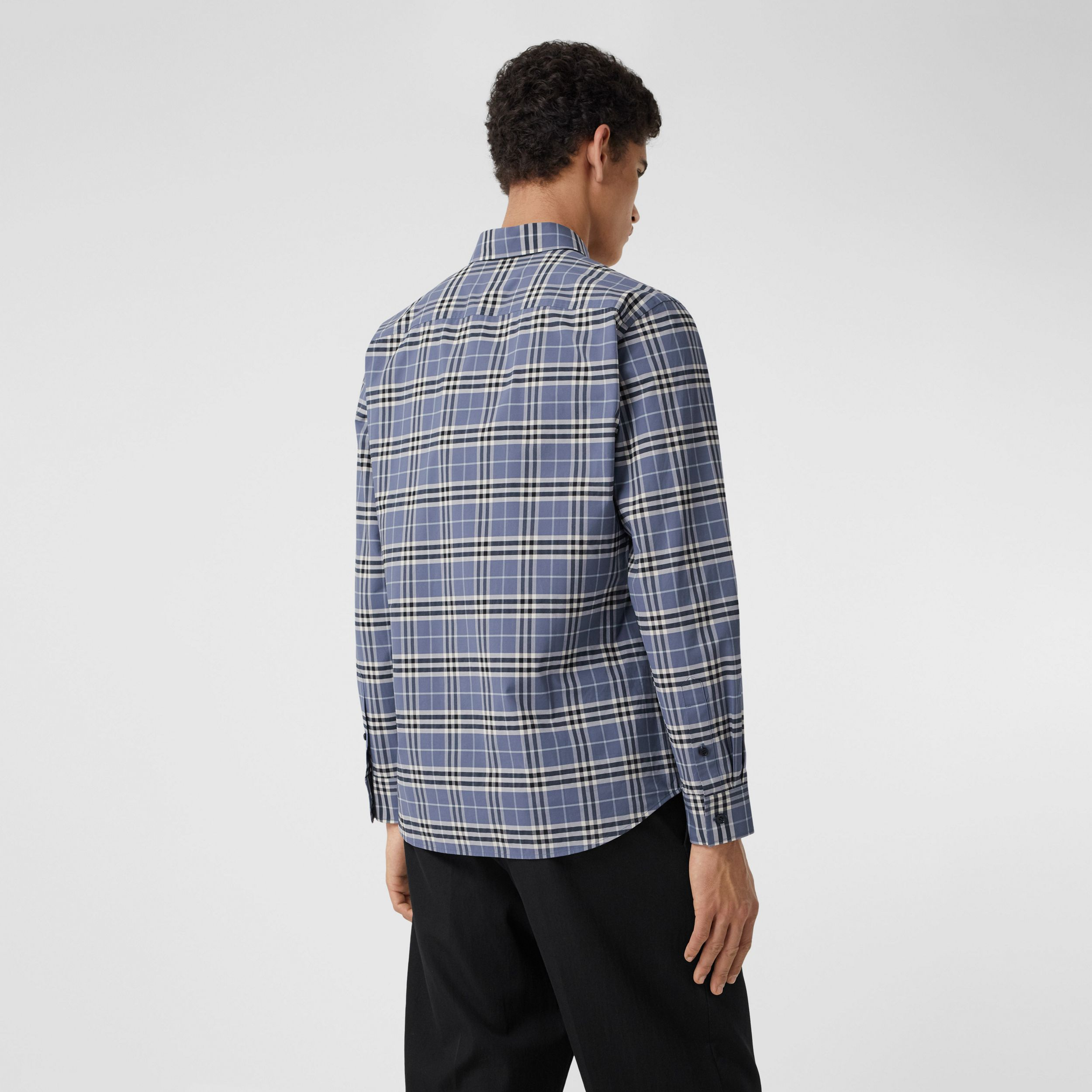 Small Scale Check Stretch Cotton Shirt in Pebble Blue - Men | Burberry - 3