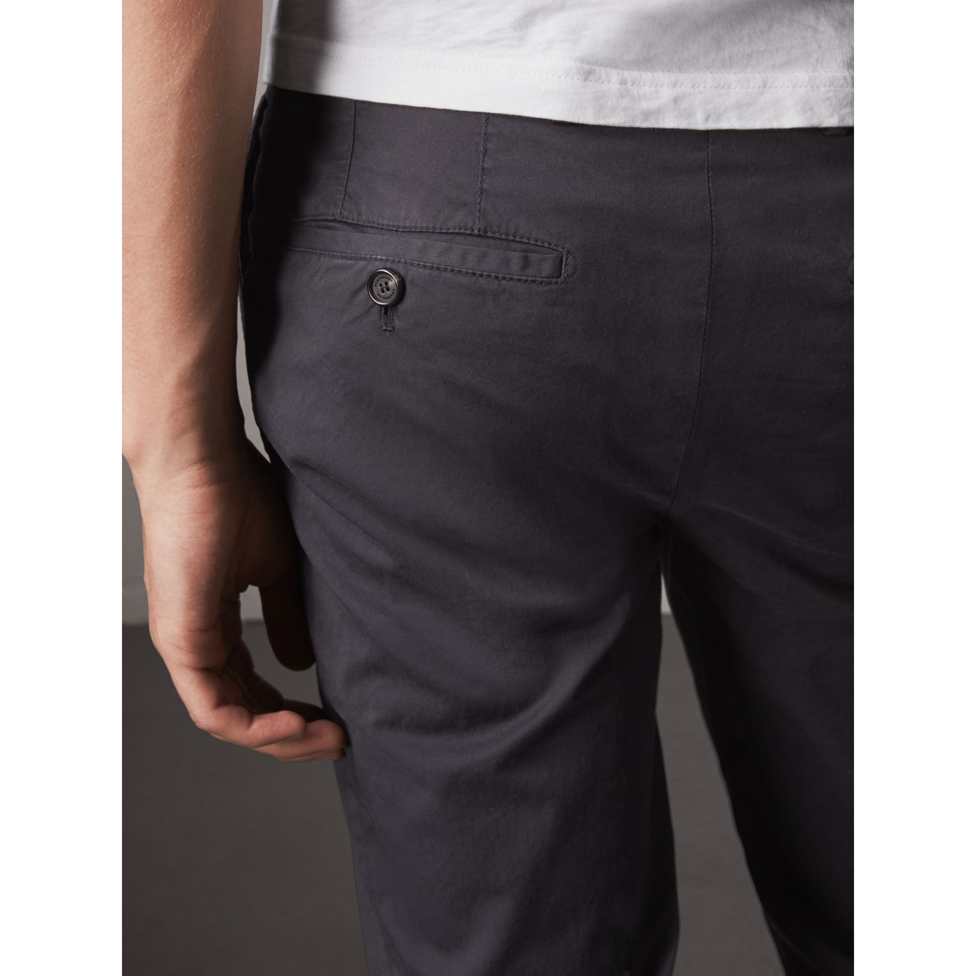 Slim Fit Stretch Cotton Chinos in Navy - Men | Burberry - gallery image 2