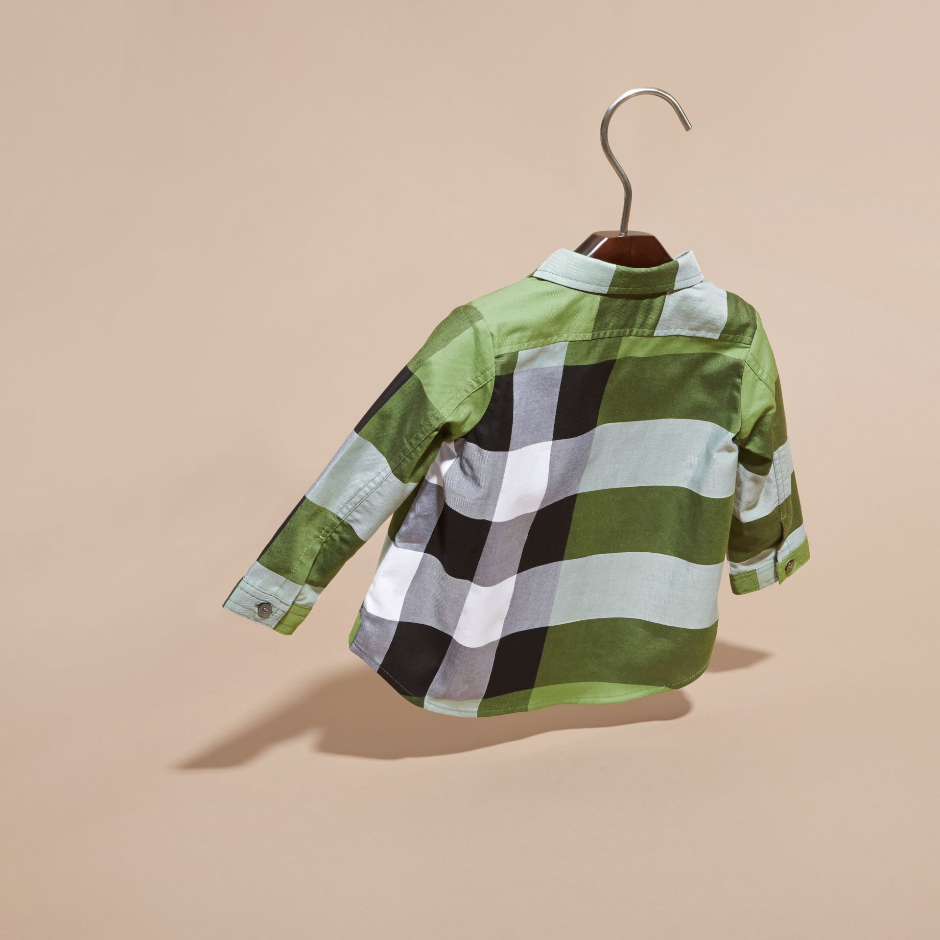 Bright fern green Check Cotton Shirt Bright Fern Green - gallery image 4