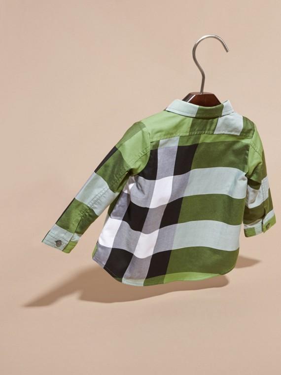 Verde felce brillante Camicia in cotone con motivo check Verde Felce Brillante - cell image 3