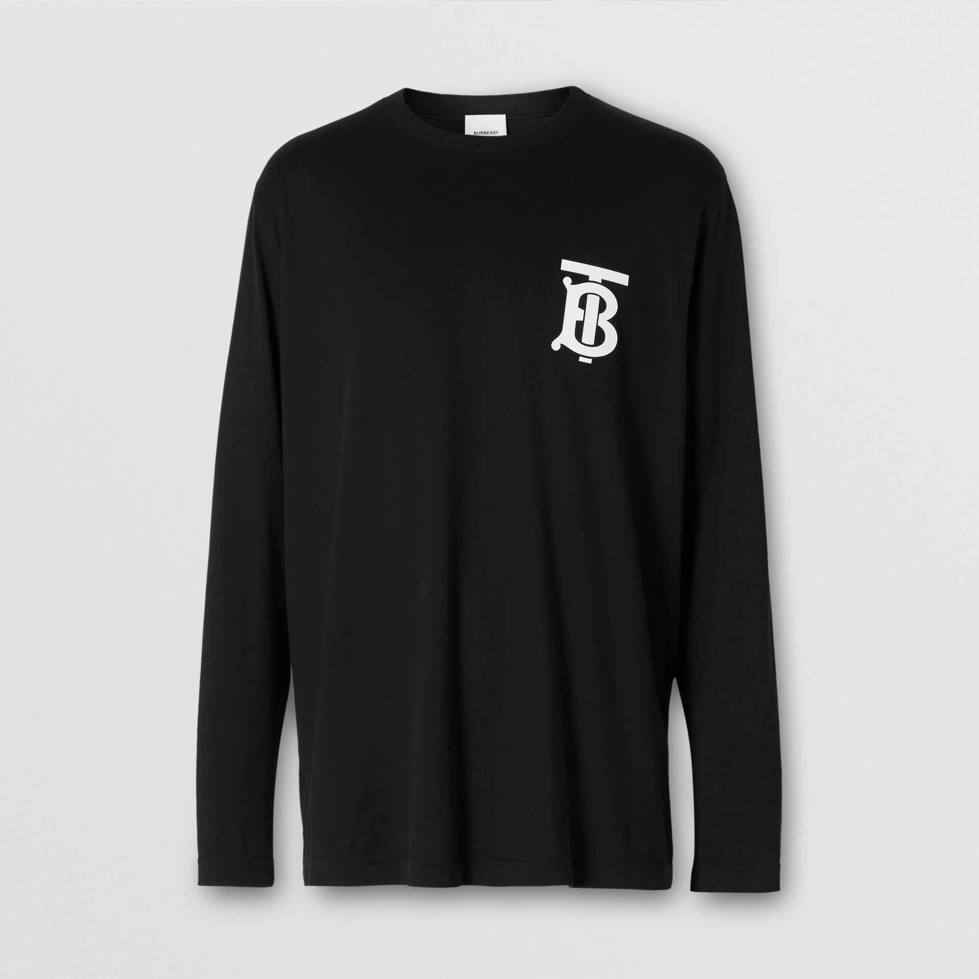 Long-sleeve Monogram Motif Cotton Top in Black - Women | Burberry - gallery image 1