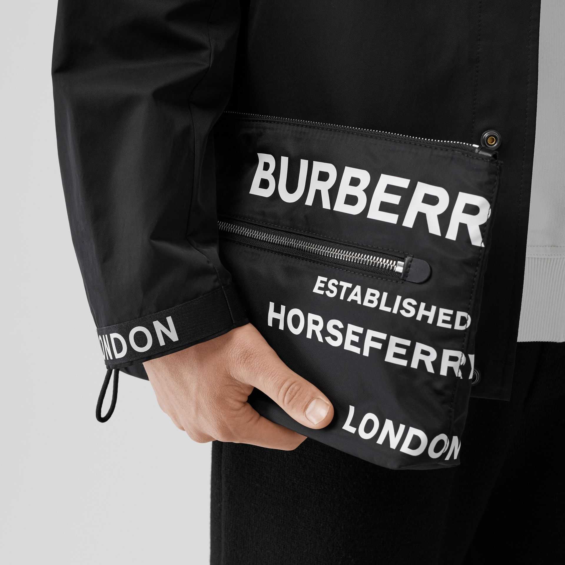 Horseferry Print Nylon Zip Pouch in Black/white | Burberry Australia - gallery image 2