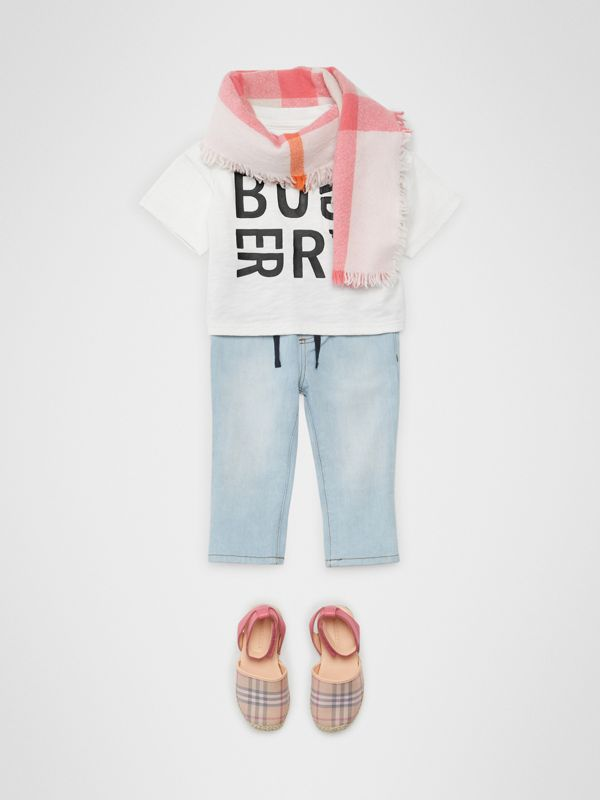 Logo Print Cotton T-shirt in White - Children | Burberry United States - cell image 3