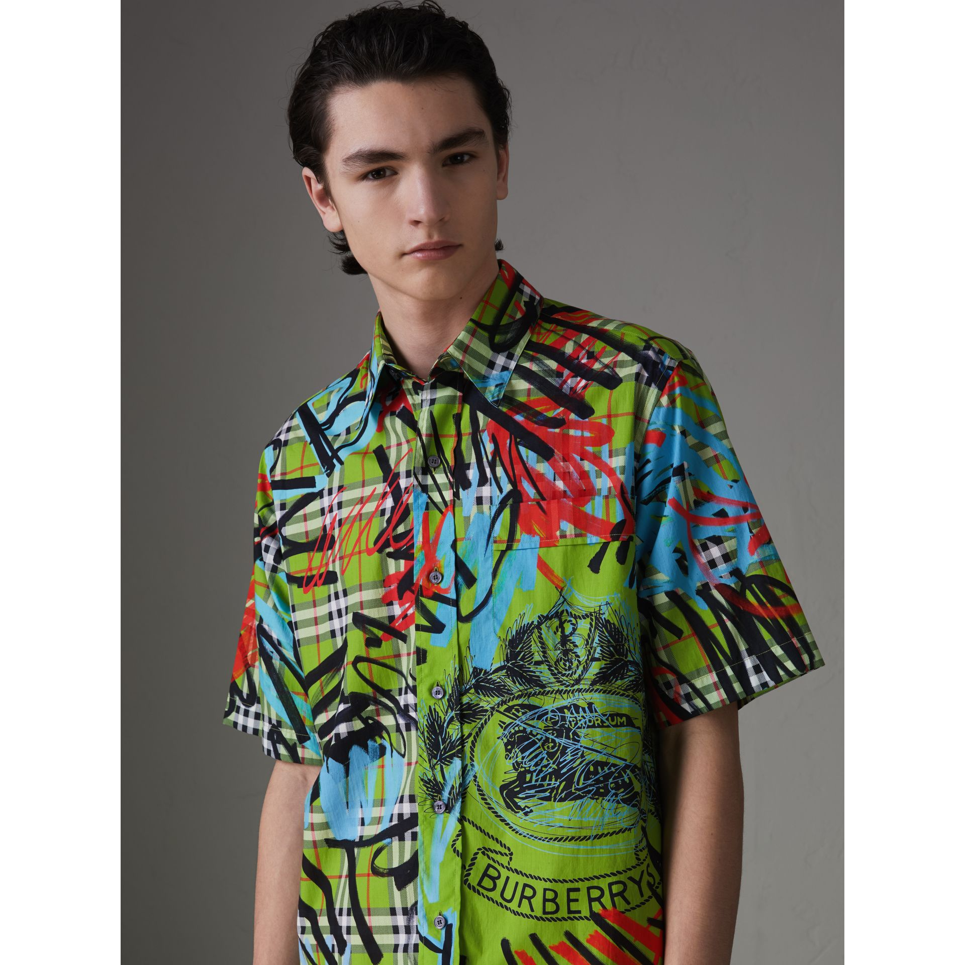 Short-sleeve Graffiti Print Check Cotton Shirt in Bright Green - Men | Burberry Australia - gallery image 4
