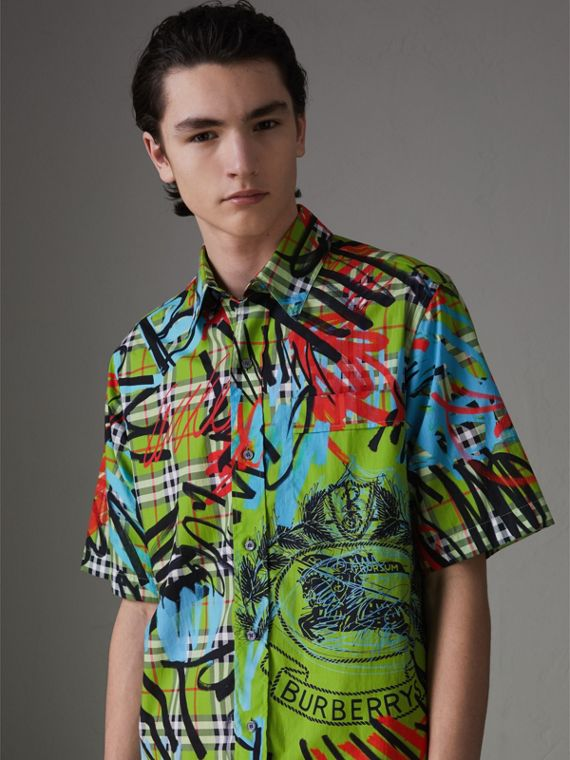 Short-sleeve Graffiti Print Check Cotton Shirt in Bright Green