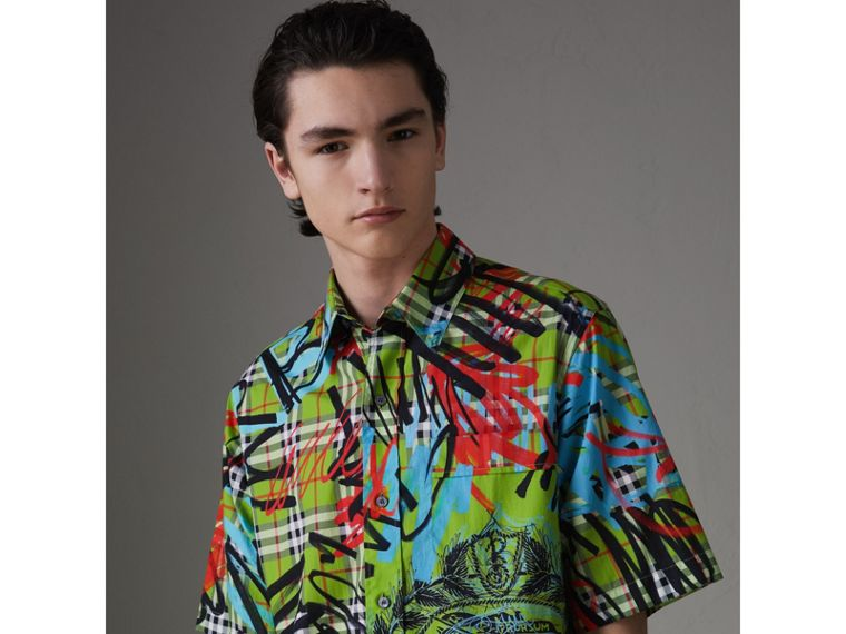 Short-sleeve Graffiti Print Check Cotton Shirt in Bright Green - Men | Burberry - cell image 4