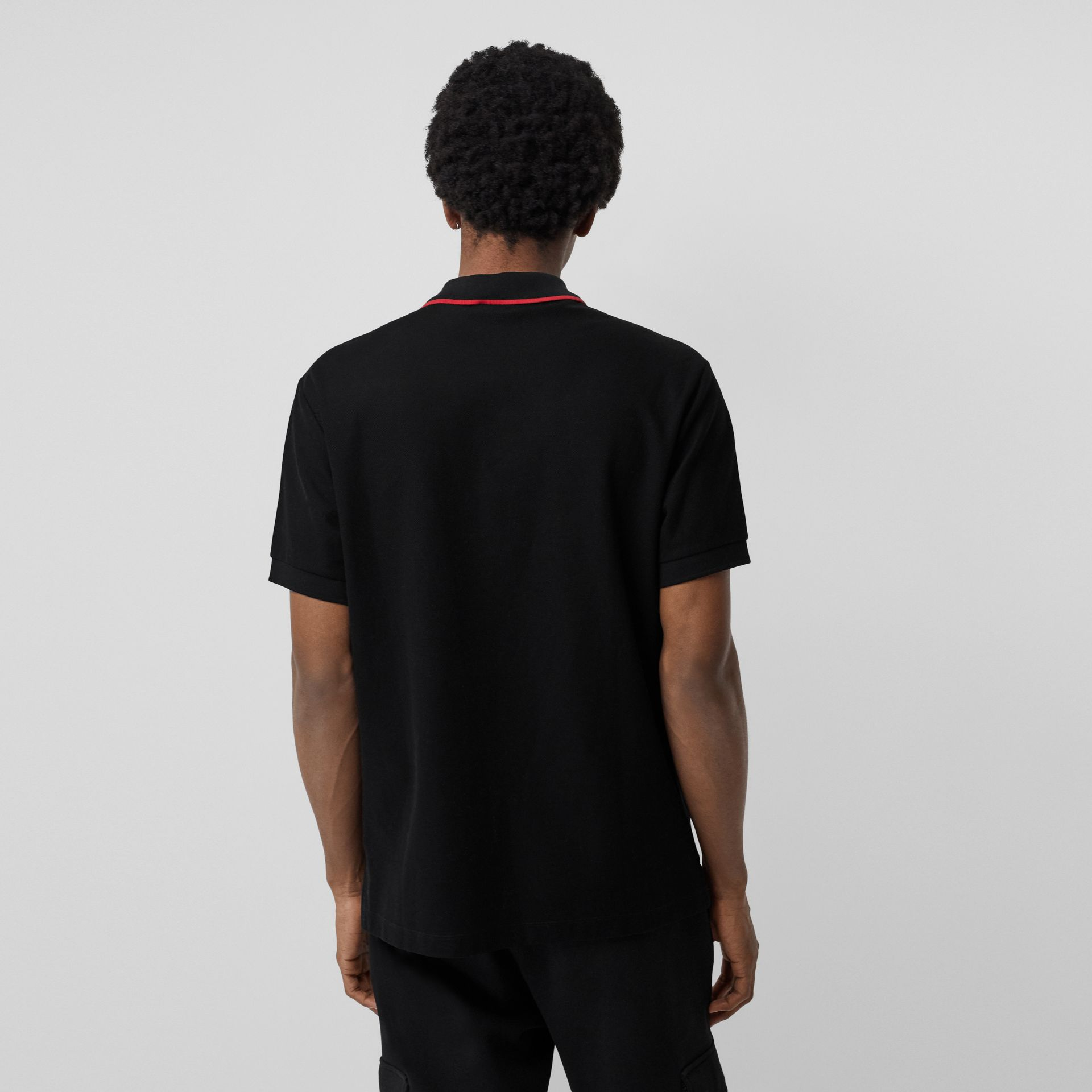 Embroidered Logo Cotton Piqué Polo Shirt in Black - Men | Burberry - gallery image 2