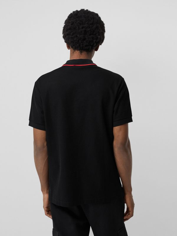 Embroidered Logo Cotton Piqué Polo Shirt in Black - Men | Burberry - cell image 2