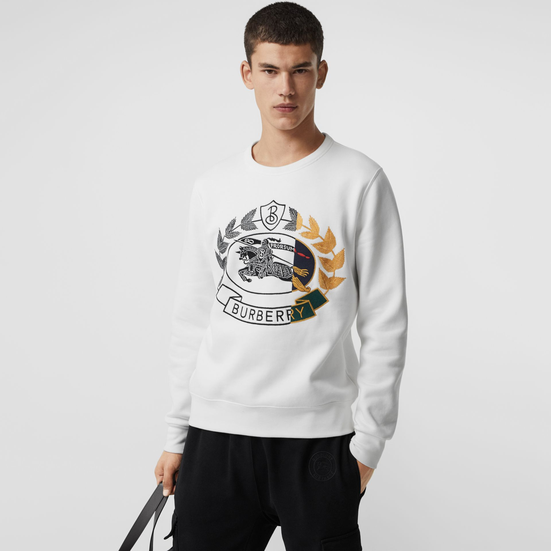 Embroidered Crest Jersey Sweatshirt in White - Men | Burberry - gallery image 0