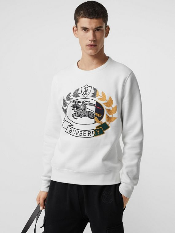Embroidered Crest Jersey Sweatshirt in White