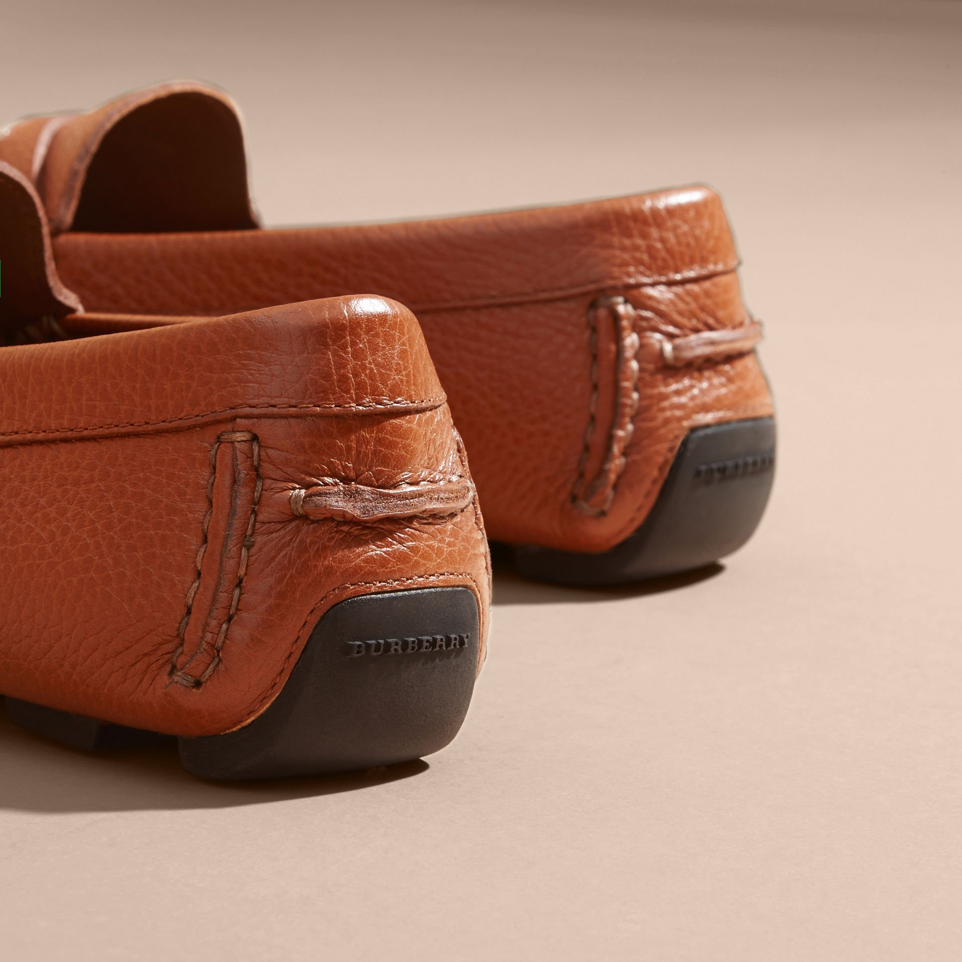Leather Loafers with Engraved Check Detail - gallery image 4