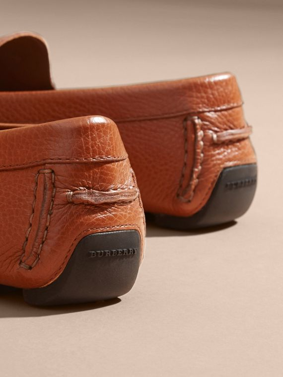 Leather Loafers with Engraved Check Detail - cell image 3
