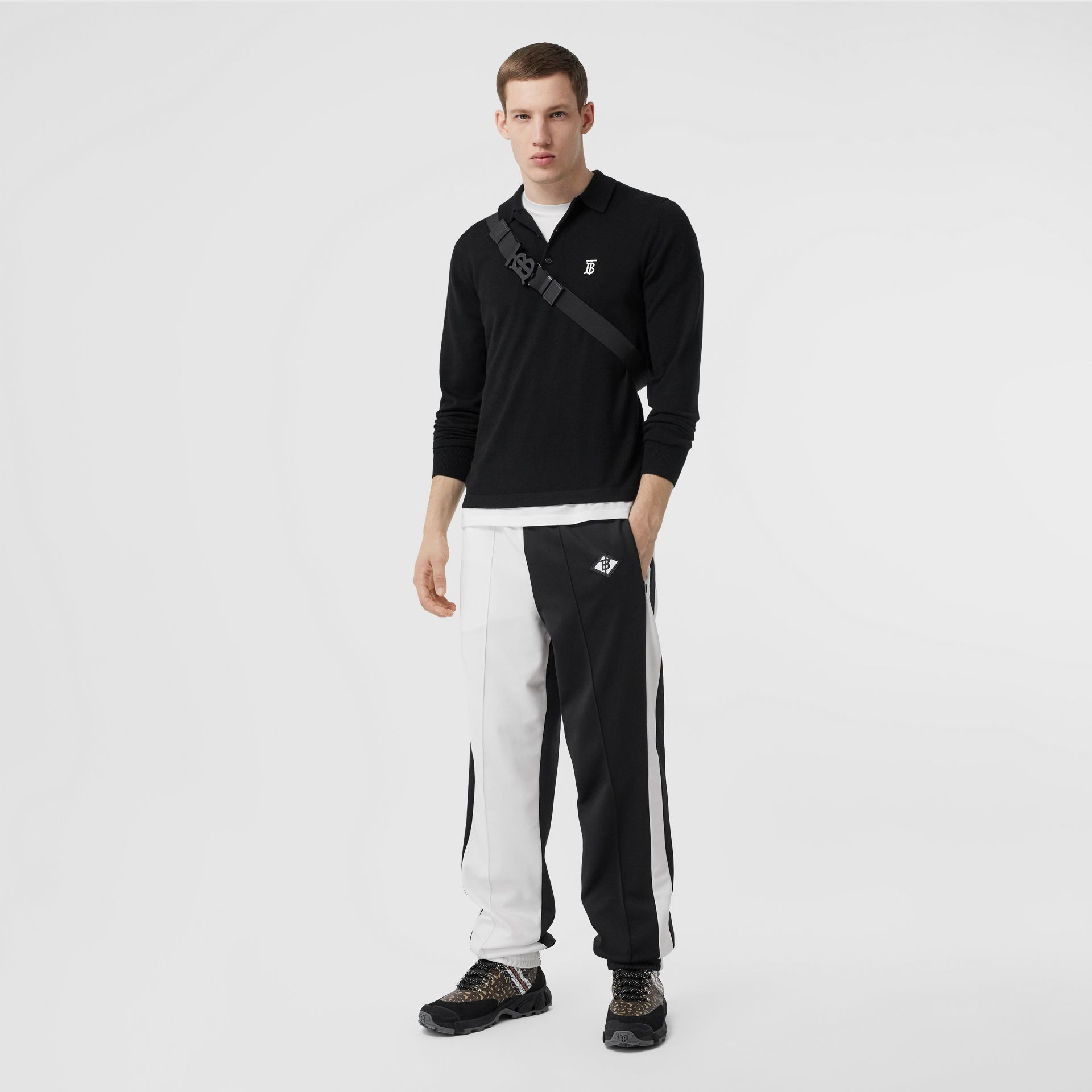 Long-sleeve Monogram Motif Merino Wool Polo Shirt in Black - Men | Burberry Canada - gallery image 0