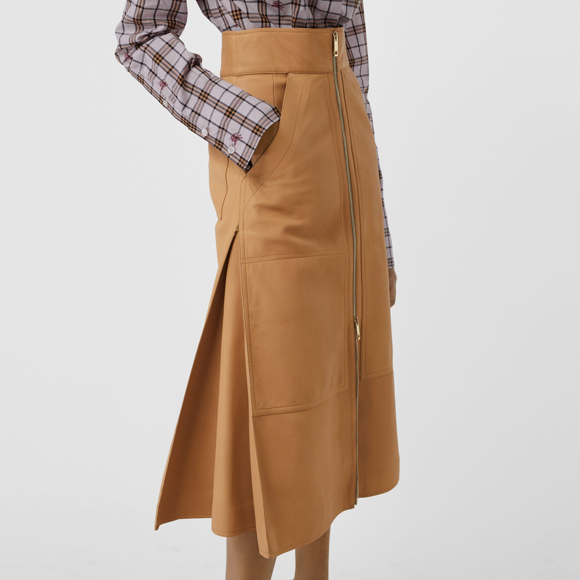 Lambskin High-waisted Skirt in Caramel - Women | Burberry - gallery image 4
