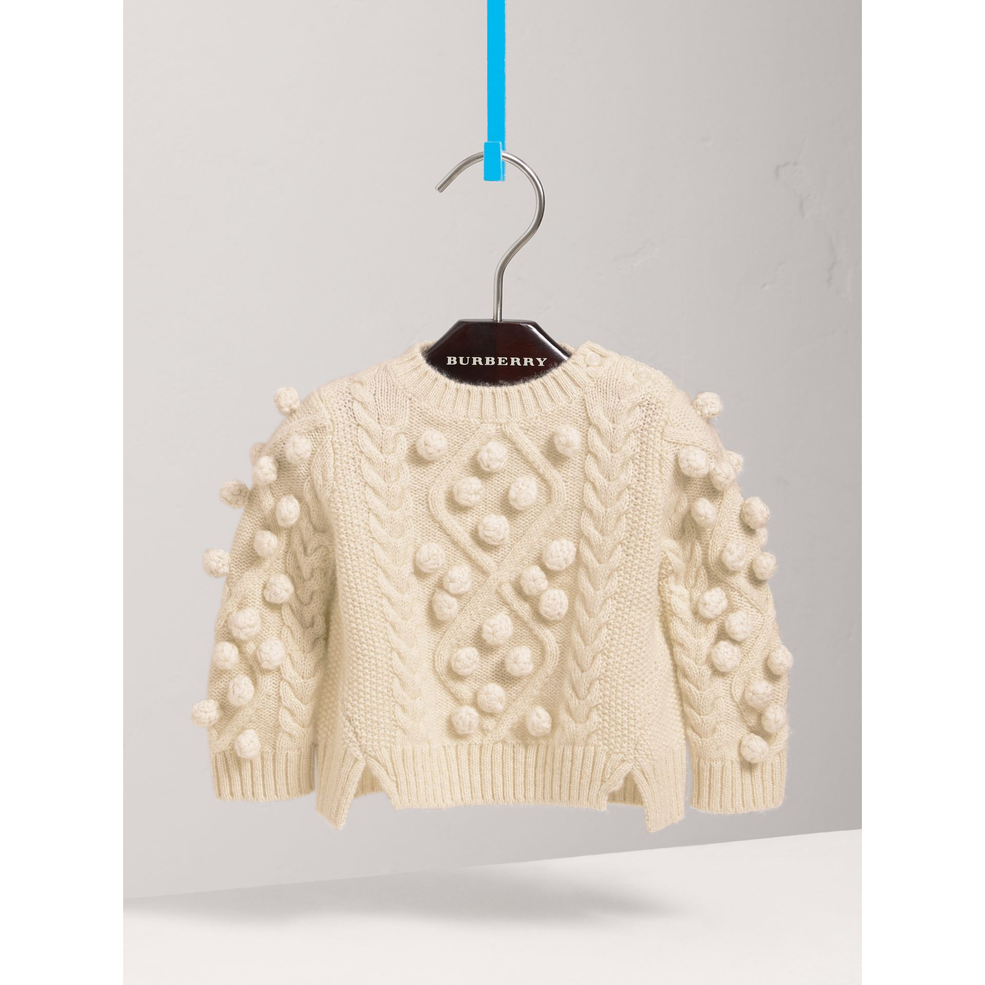 Bobble Cable Knit Cashmere Lurex Blend Sweater in Natural White | Burberry Australia - gallery image 0