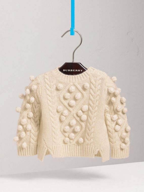 Bobble Cable Knit Cashmere Lurex Blend Sweater in Natural White