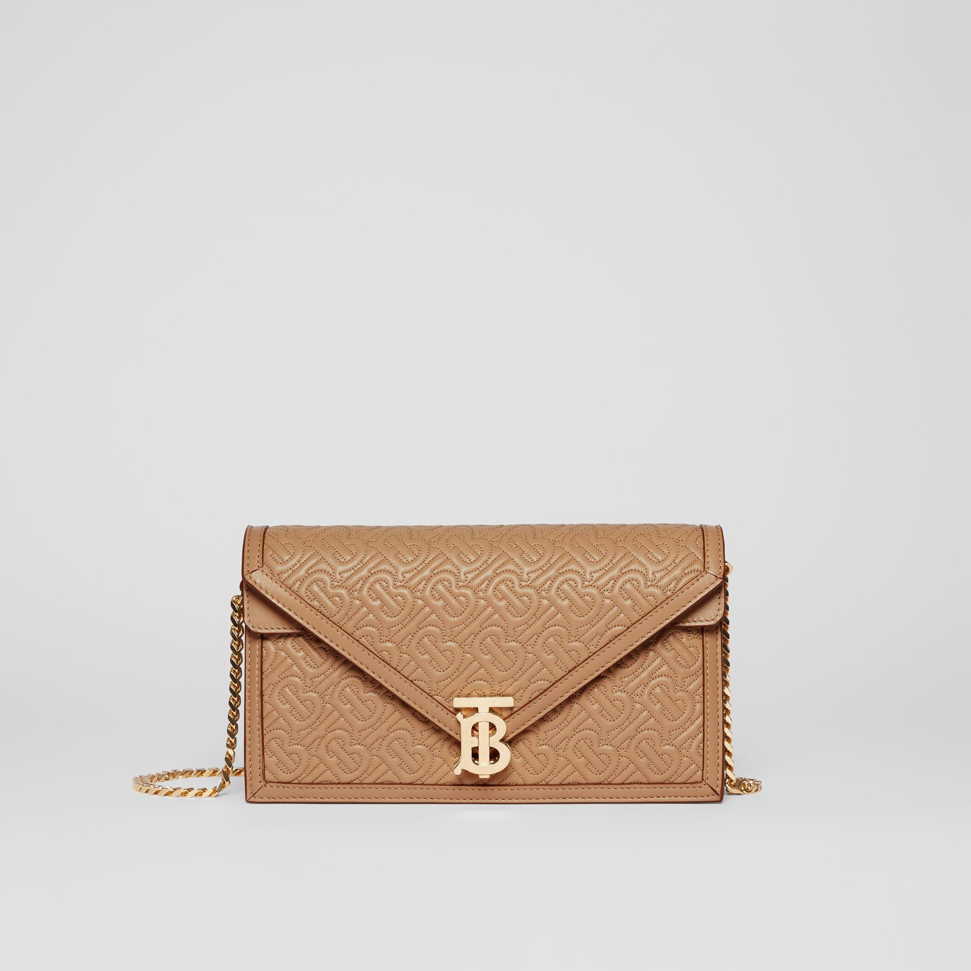Small Quilted Monogram TB Envelope Clutch in Honey - Women | Burberry United Kingdom - gallery image 0