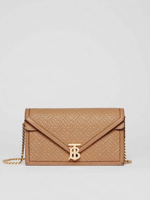 Small Quilted Monogram TB Envelope Clutch in Honey