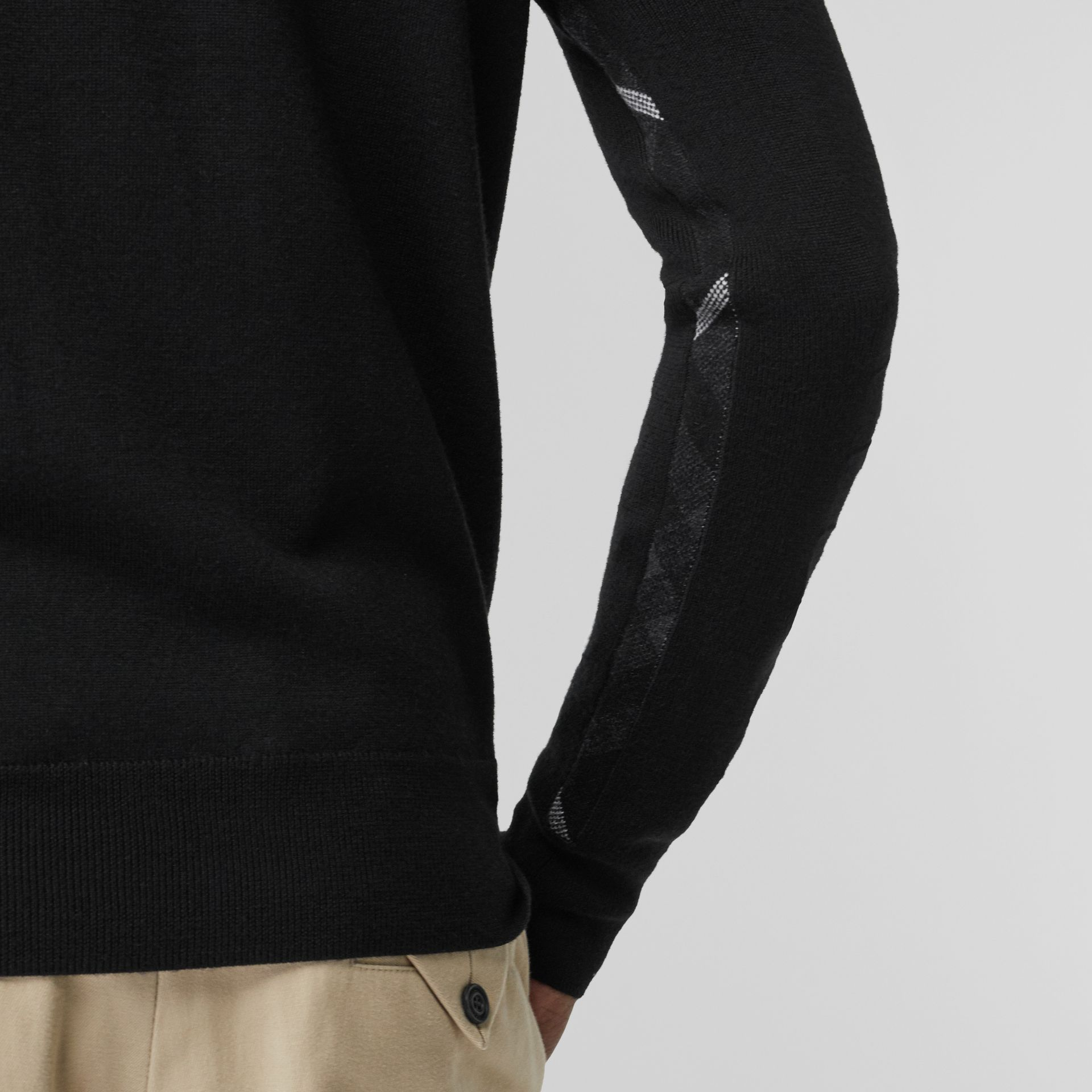 Merino Wool Half-zip Sweater in Black - Men | Burberry Australia - gallery image 2