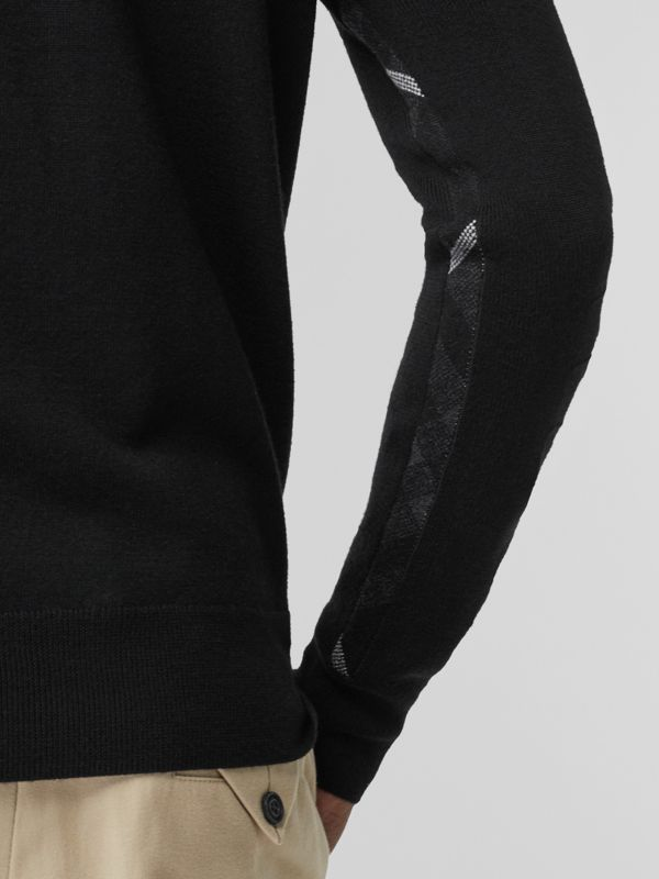 Merino Wool Half-zip Sweater in Black - Men | Burberry Australia - cell image 2