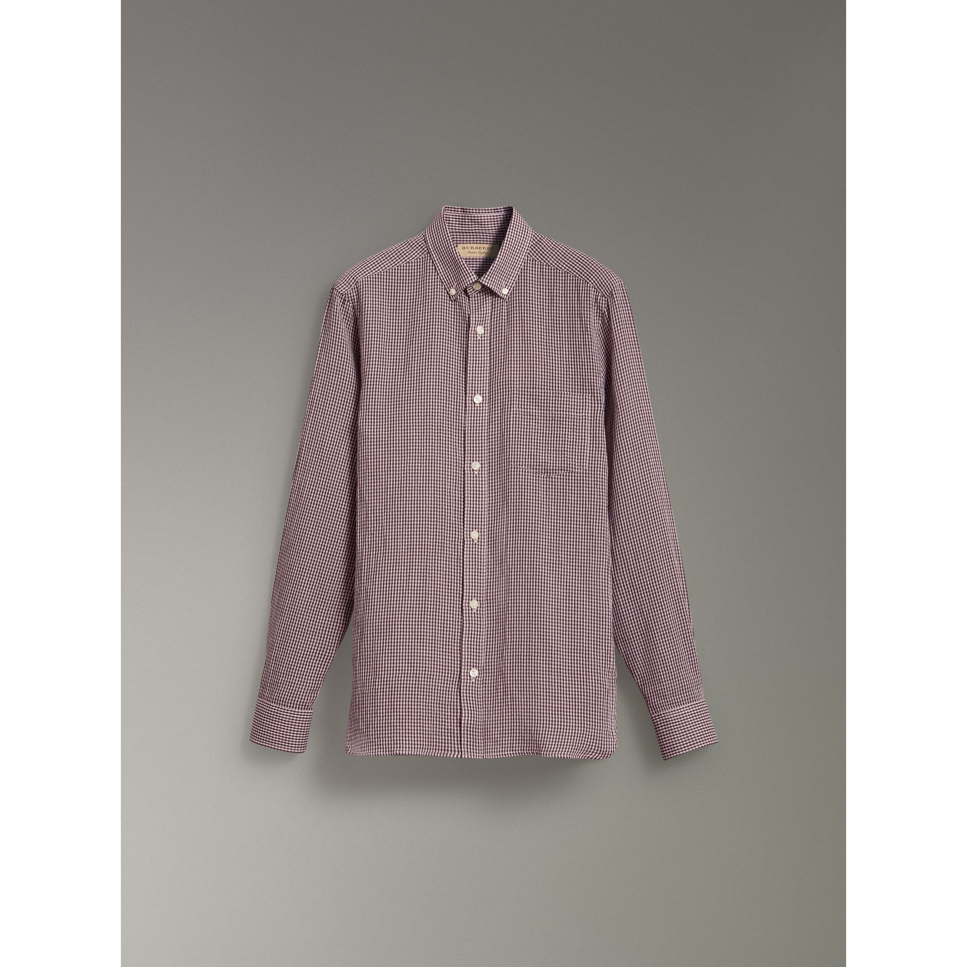 Button-down Collar Gingham Cotton Shirt in Heather Pink - Men | Burberry United Kingdom - gallery image 3