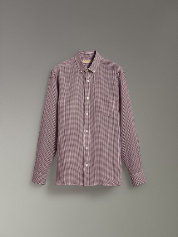 Button-down Collar Gingham Cotton Shirt in Heather Pink - Men | Burberry United Kingdom - cell image 3
