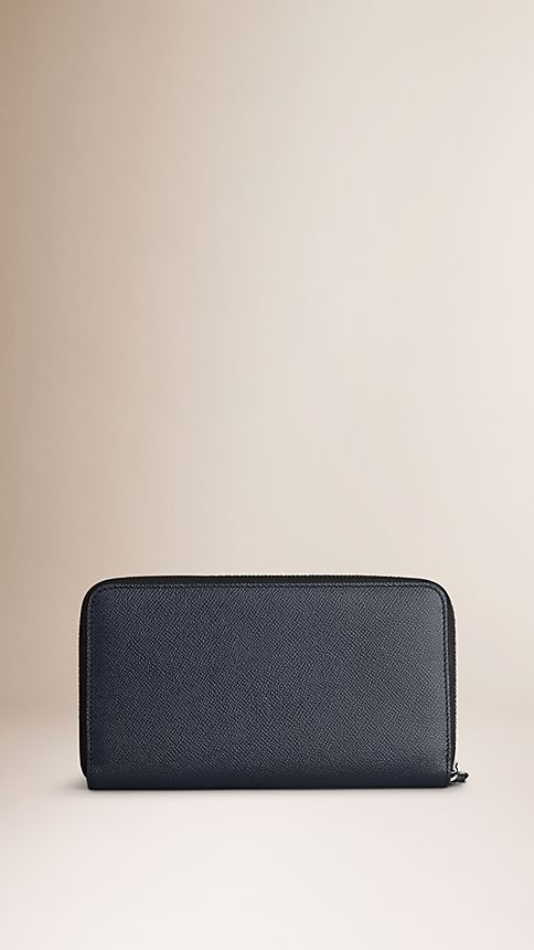 Navy London Leather Ziparound Wallet - Image 2