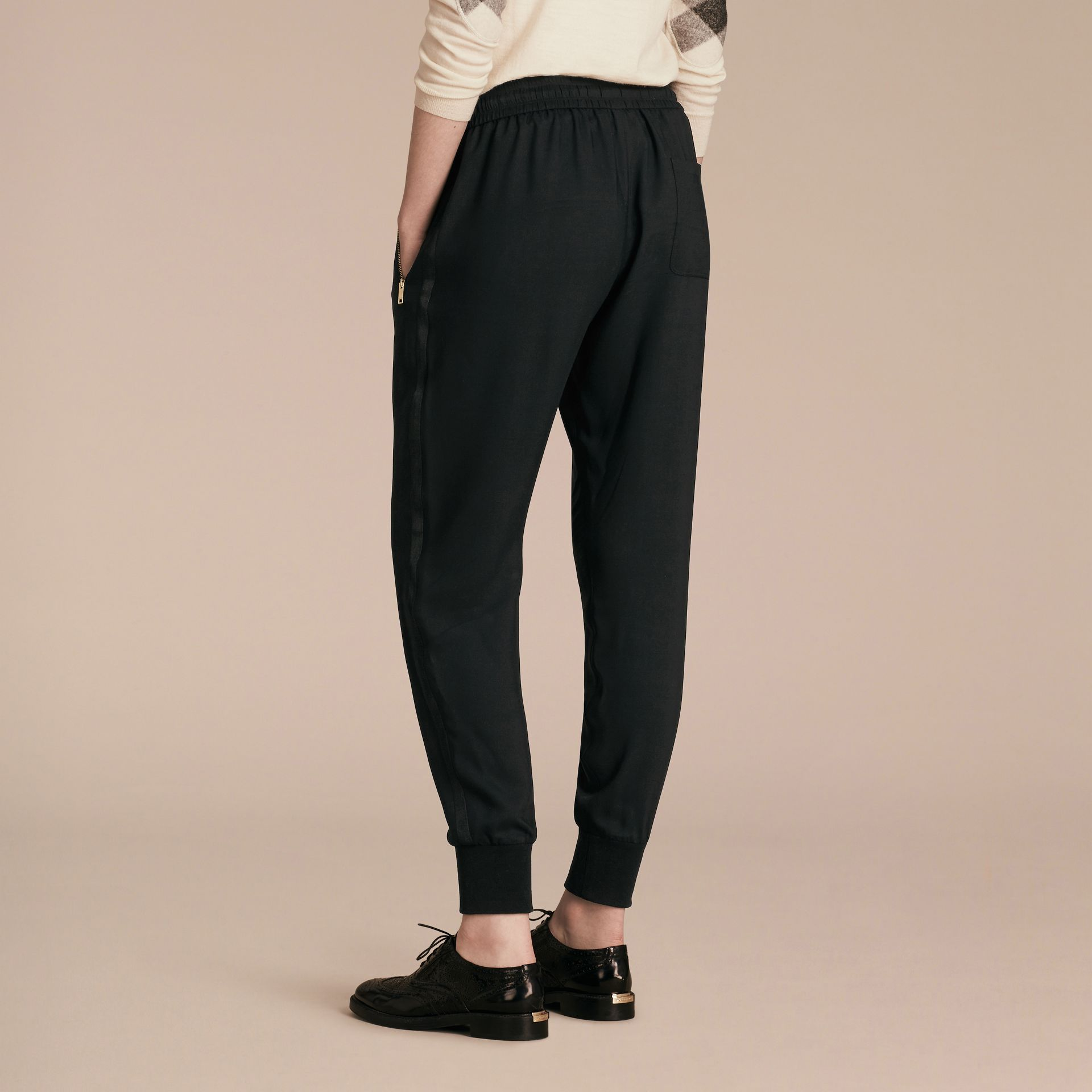 Zip Detail Jersey Sweat Pants Black - gallery image 3
