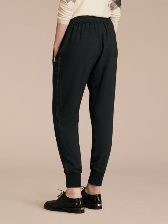 Black Zip Detail Jersey Sweat Pants Black - cell image 2