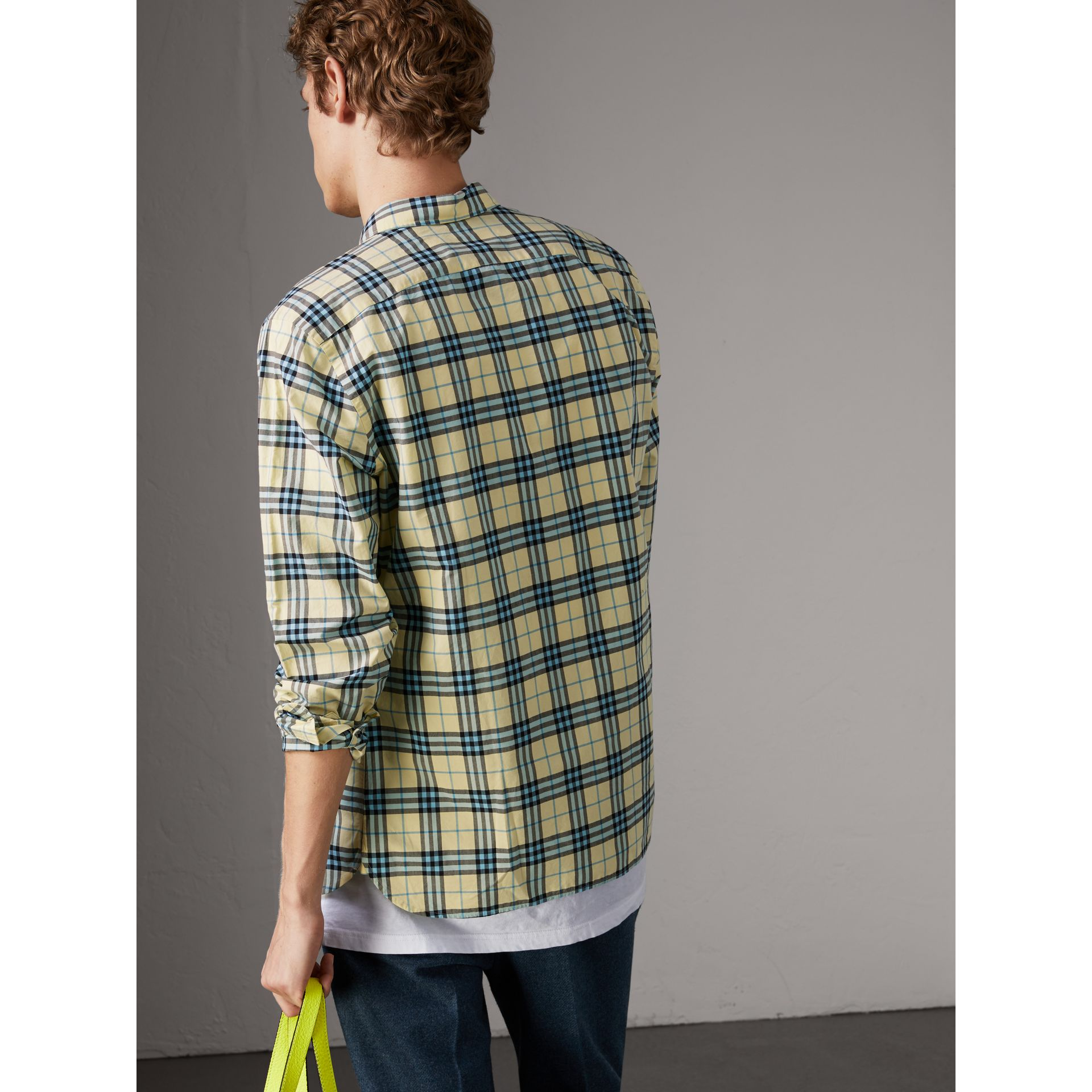 Check Cotton Shirt in Chalk Yellow - Men | Burberry - gallery image 2