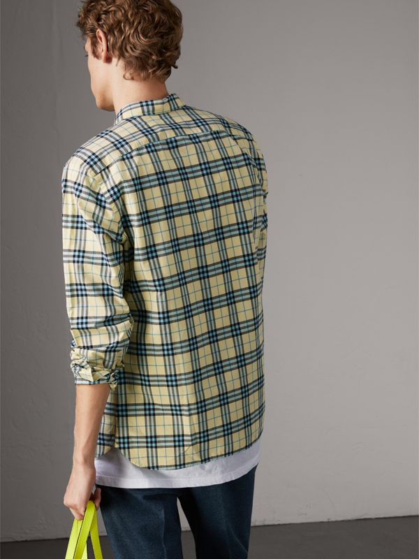 Check Cotton Shirt in Chalk Yellow - Men | Burberry United Kingdom - cell image 2