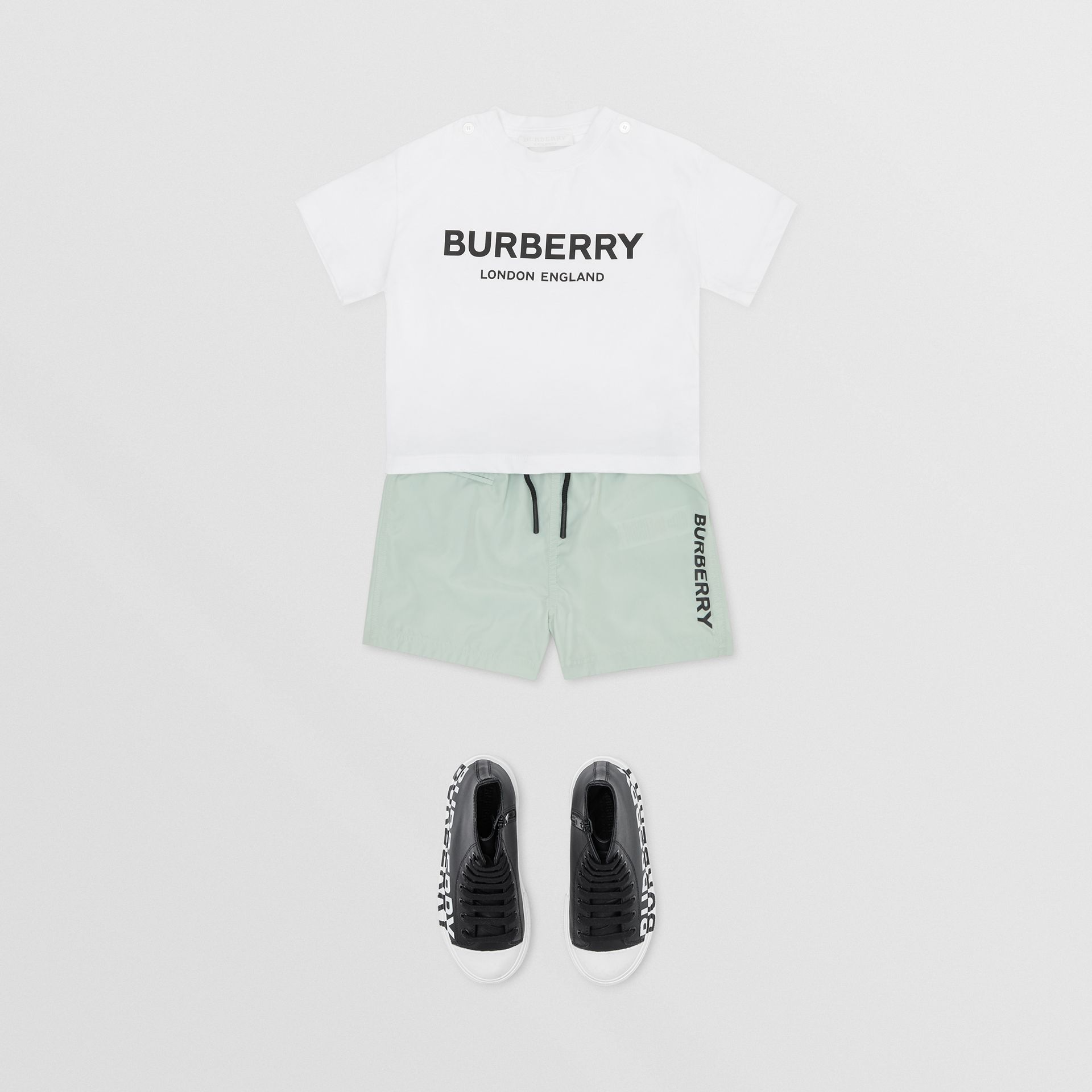 Logo Print Cotton T-shirt in White - Children | Burberry Hong Kong S.A.R - gallery image 2